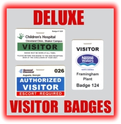 deluxe plastic visitor badges graphic button